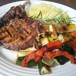 Balsamic Glazed Rosemary Pork Chop with Mashed Potatoes & Grilled Veggies