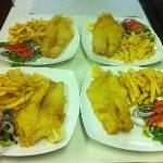 Fish and chips  some side salad
