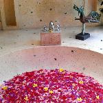Bath filled with petals on arrival