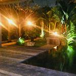 Outside area of villa at night