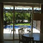 Looking out our room to the plunge pool