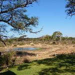View of Elephant Valley Lodge waterhole, with bird hide on bottom left and boma on the right.
