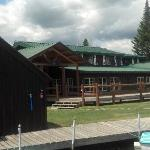 A view of the main lodge from the boating dock