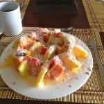 The $3.00 Fruit breakfast served at Hotel Liberia