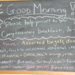 Note on the blackboard in the guests-only coffee shop
