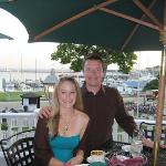 My wife and I enjoying our anniversary dinner at the hotel restaurant.