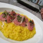 Raw fish risotto