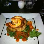 Crab Cake with King Prawn on bed of Spinach with Red Pepper Sauce