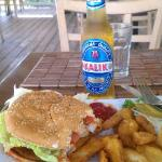 Taino by the Sea, Fried Grouper Burger n Fries and Kalik!