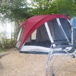 Roomy site, enough room for an 8 person tent, our chairs, a picnic table and a fire ring