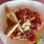 Spaghetti and Meatballs. Tasty meatballs and breadsticks.