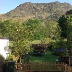 View across backyard to the mountains