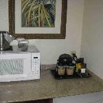 Microwave, coffeemaker, minibar....