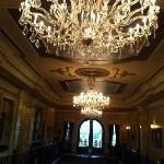 Photo of the three chandeliers in the Great Hall.