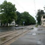 This is the Tram stop- they run frequently- it is about a 10-15 minute walk- very pleasant.