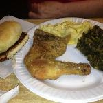 Fried Chicken, M&C, and Turnip Greens