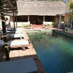 Pool, im Hintergrund die überdachte Terrasse mit Bar
