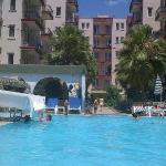 Hotel building & pool.