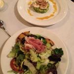 grilled peaches and ham salad; shrimp seviche
