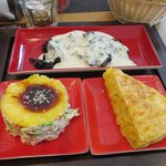 Black rice with a salad w/pineapple and tortilla de papa