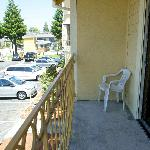 Balcony with a view of the parking lot