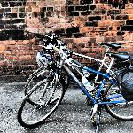 The rental bikes. Fully equipped with a helmet, pannier bag, spare inner tube, pump and multi-to