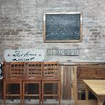Sign inside the cafe.