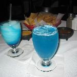 Blue Margaritas and great chips/salsa/queso