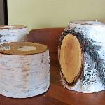 Paper birch candlesticks