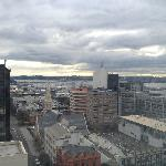 A view from the kitchen window, 17th floor, Wyndham St side. Good views across the harbour.