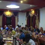 Bikers group enjoying dinner party at the hotel The Grand Shangri-La,Kalpa,Kinnaur,Himachal Prad