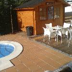 Pool, reception hut and chairs