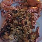Baked-stuffed lobster with seafood stuffing