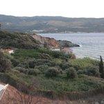 Blick vom Balkon auf die Küste vom Samos Stadt