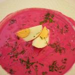 Beetroot soup with egg