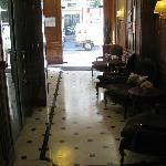 View of the lobby looking out towards the door