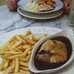 Crab salad and steak pie