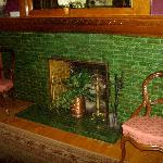 Each fireplace has a different color of tiles