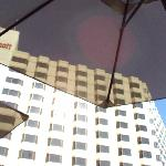 View of hotel looking up from under pool umbrella!
