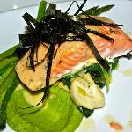 Seafood main course baked chinook salmon