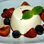 Fresh fruit and panacotta dessert