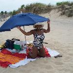 Under the complimentary umbrella, very private by the dunes