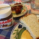 Nutella with Homemade coconut bread. Delicious!