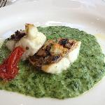 Pan-seared sea bass with creamy spinach