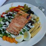Dinner salad with wild Alaskan salmon