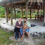 Laoto and grandson in front of the dining fale