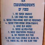 Their ten commandments of food