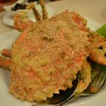 Sri Lanka crab cooked with salted egg (but with only one pincer)
