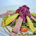 Home Smoked duck and advacado salad with red onion marmalade