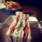 club sandwich + fries at the bar